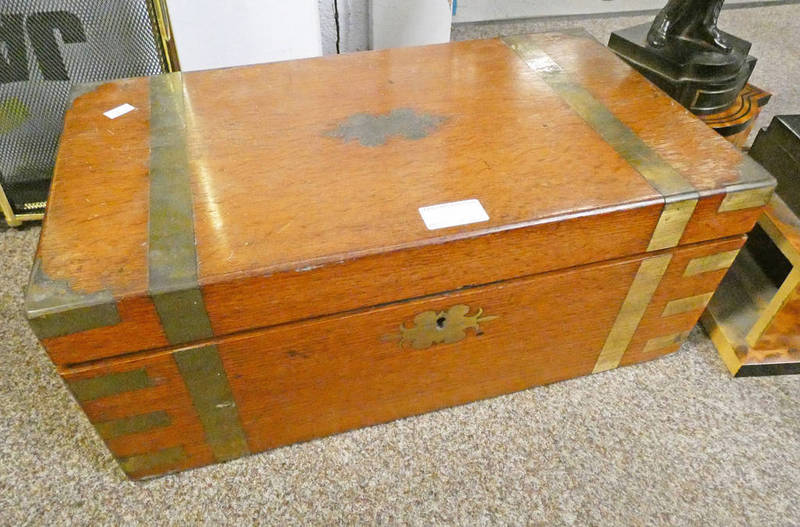 LATE 19TH/EARLY 20TH CENTURY OAK AND BRASS BOUND WRITING SLOPE - 45.