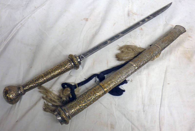 BURMESE DHA WITH 51 CM LONG SINGLE EDGED BLADE ETCHED WITH TRADITIONAL DANCERS WITH ITS HEAVILY