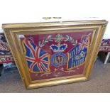 LATE 19TH CENTURY GILT FRAMED WOOLWORK TAPESTRY OF THE ROYAL SCOTS FUSILIERS CREST & FLAGS WITH