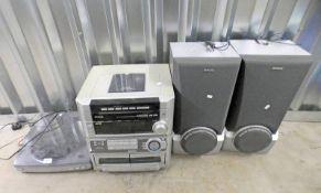 AIWA SOUND SYSTEM 2 - L500 WITH AIWA PX - E860 TURNTABLE AND AIWA SPEAKERS
