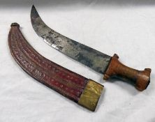 AFRICAN NOMADIC DAGGER WITH A 28CM LONG DOUBLE EDGED CURVED BLADE,