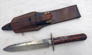 GEORGE BUTLER & CO. BOWIE KNIFE WITH 14.