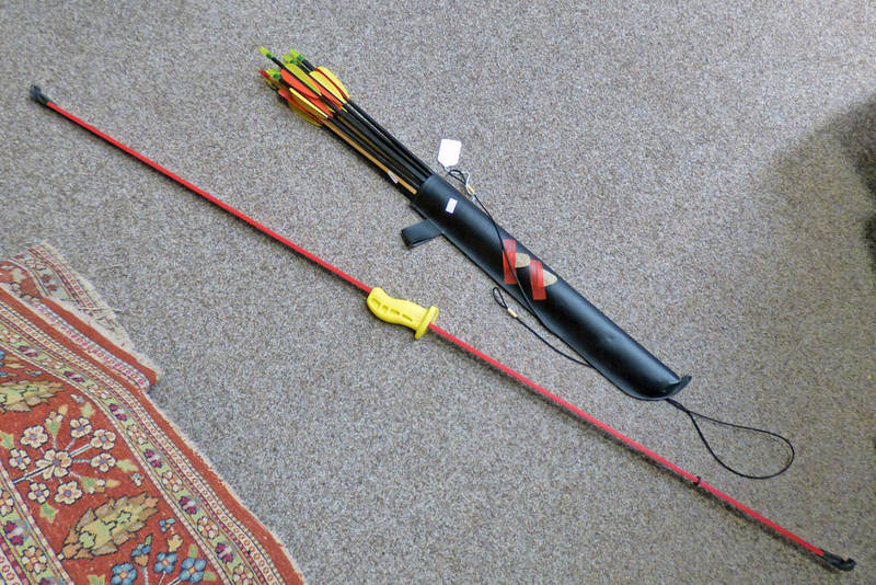 ARMEX BOW WITH ARROWS AND A SELECTION OF VARIOUS FISHING RODS