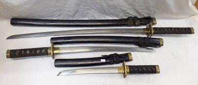 3 ANCIENT WARRIOR T.M SAMURAI SWORDS Condition Report: TM stands for trade mark.