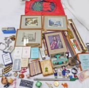 SELECTION OF VARIOUS ITEMS TO INCLUDE PLAYING CARDS, PAINTED MIDDLE EASTERN TEA POT, TOY PLANE,