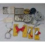 VARIOUS FISHING ITEMS TO INCLUDE LOCH LEVEN FLY BOX WITH CONTENTS, MILBRO SIDE CRANK REEL,
