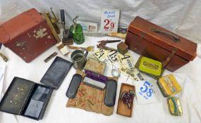 JANAS SKATE CASE WITH SKATES, EYE GLASSES, JOSPEH ELLIOT & SONS CARVING KNIFE, BOX MARKED 'WD AKS',