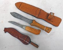 TWO HUNTING KNIVES WITH LEATHER SCABBARDS ONE WITH DECORATION TO BLADE -2-