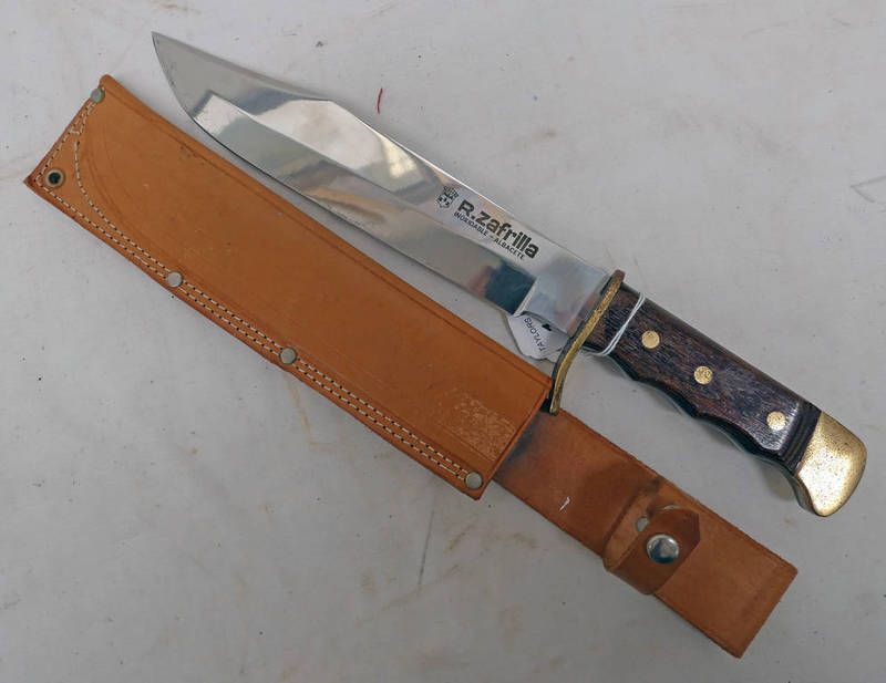 BOWIE KNIFE, ZAFRILLA INOXIDABLE - ALBACETE WITH 24.3 CM LONG BLADE WITH SCABBARD.