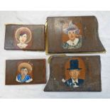 4 PAINTED PANELS SIGNED SB98 -4-
