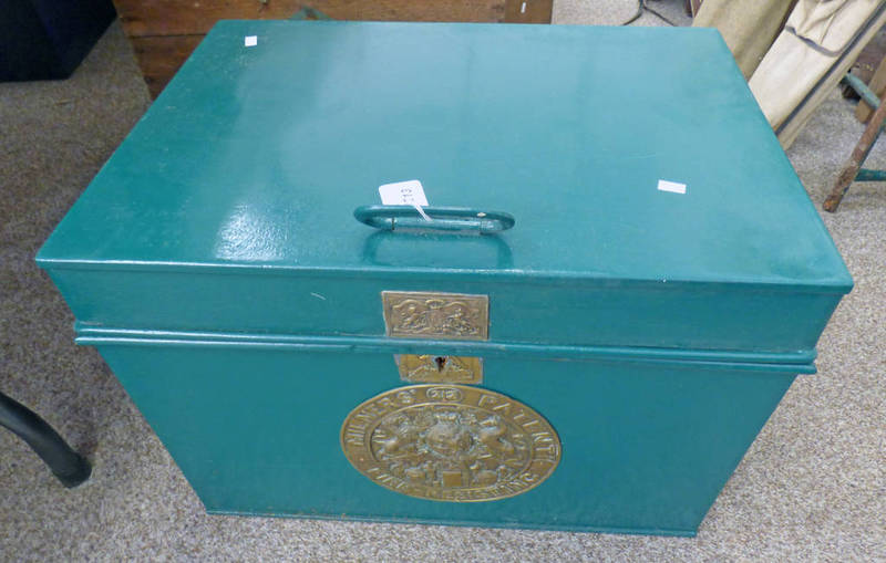 MILNERS PATENT DOUBLE CHAMBERED FIRE RESISTANT SAFE BOX WITH BRASS PLAQUES AND INTERIOR LABEL