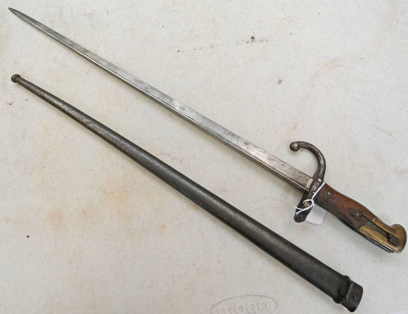 FRENCH GRAS BAYONET WITH 52CM LONG BLADE SPINE MARKED ST.