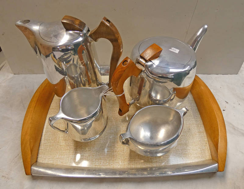 PICQUOT WARE TEASET WITH TRAY