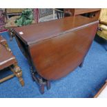 MAHOGANY DROP LEAF TABLE ON SQUARE SUPPORTS LENGTH 90CM