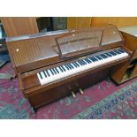 MAHOGANY CASED EAVESTAFF MINI ROYAL OVERSTRUNG PIANO