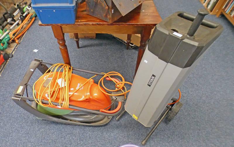 TITAN TTB353SHR RAPID SHREDDER AND FLYMO EASI-OLIDE 330VX ELECTRIC LAWN MOWER