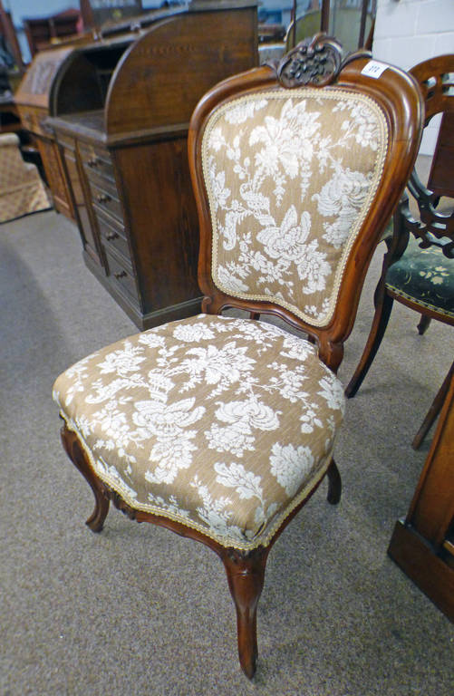 19TH CENTURY WALNUT HAND CHAIR ON CABRIOLE SUPPORTS