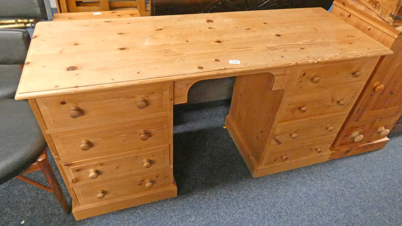 PINE DESK WITH 8 DRAWERS 76CM TALL X 142CM LONG