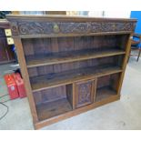 19TH CENTURY CARVED OAK OPEN BOOKCASE WITH 2 DRAWERS & PANEL DOOR,
