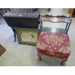 SUTHERLAND TABLE, SEWING BOX, PAINTED MIRROR,