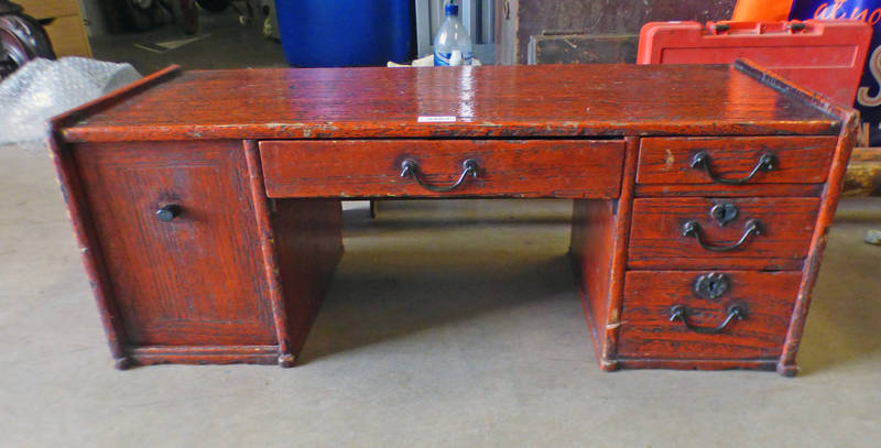 ORIENTAL RED LOW DESK WITH 4 DRAWERS & CUPBOARD