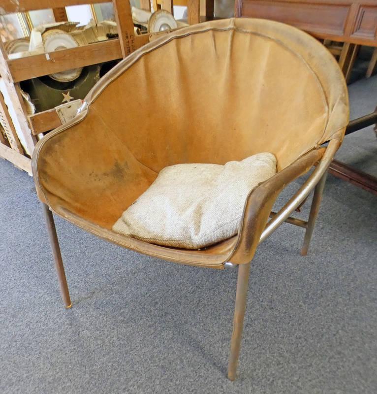 20TH CENTURY CHROME & LEATHER ARMCHAIR WITH WOOLLEN SEAT BY ERIK OLE JORGENSEN 67CM TALL