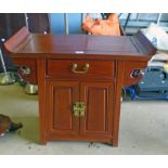 ORIENTAL HARDWOOD SIDE CABINET WITH DRAWER & 2 PANEL DOORS Condition Report: The