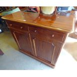 19TH CENTURY MAHOGANY SIDE CABINET WITH 2 DRAWERS OVER 2 PANEL DOORS 99CM TALL X 112CM WIDE