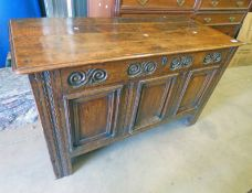 19TH CENTURY OAK COFFER WITH CARVED DECORATION 71CM TALL X 120CM LONG