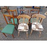 PAIR OF MAHOGANY OPEN ARMCHAIRS ON TAPERED SUPPORTS AND ONE OTHER PAIR OF CHAIRS.