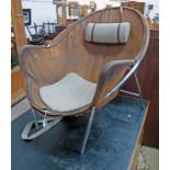 20TH CENTURY CHROME AND LEATHER ARMCHAIR WITH WOOLLEN SEAT & HEADREST WITH ROSEWOOD BALANCE