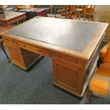 OAK TWIN PEDESTAL PARTNER'S DESK WITH LEATHER INSERT AND 3 FRIEZE DRAWERS OVER 6 DRAWERS WITH 3
