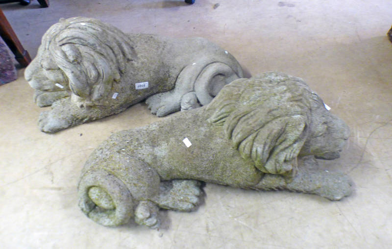 2 RECONSTITUTED STONE GARDEN LIONS,