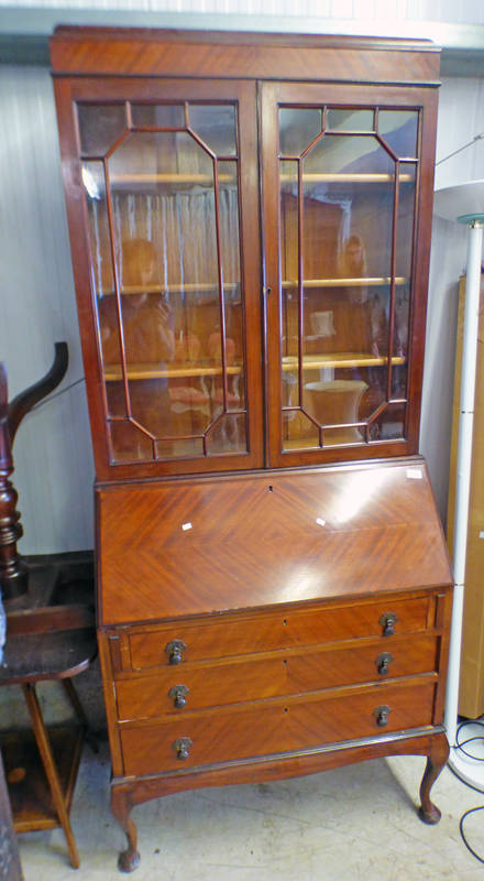 EARLY 20TH CENTURY MAHOGANY BUREAU BOOKCASE WITH 2 ASTRAGAL GLASS DOORS OVER FALL FRONT WITH 3 LONG