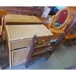 WICKER STORAGE UNIT WITH LIFT-UP TOP OVER LINEN BASKET & 3 DRAWERS, LENGTH 75CM,