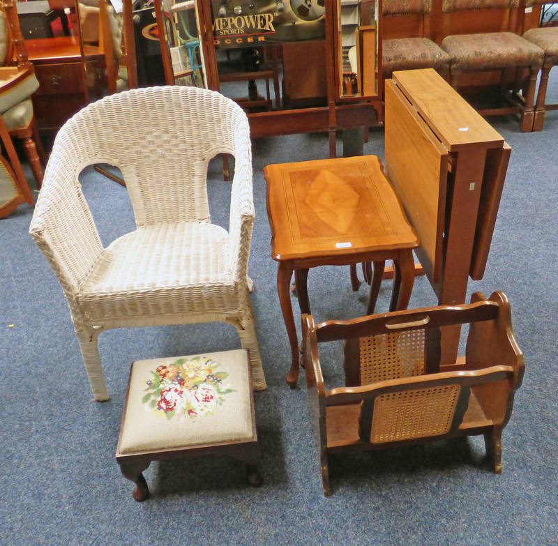 PAINTED WICKER ARMCHAIR, MAHOGANY FRAMED TAPESTRY TOPPED STOOL ON QUEEN ANNE SUPPORTS,