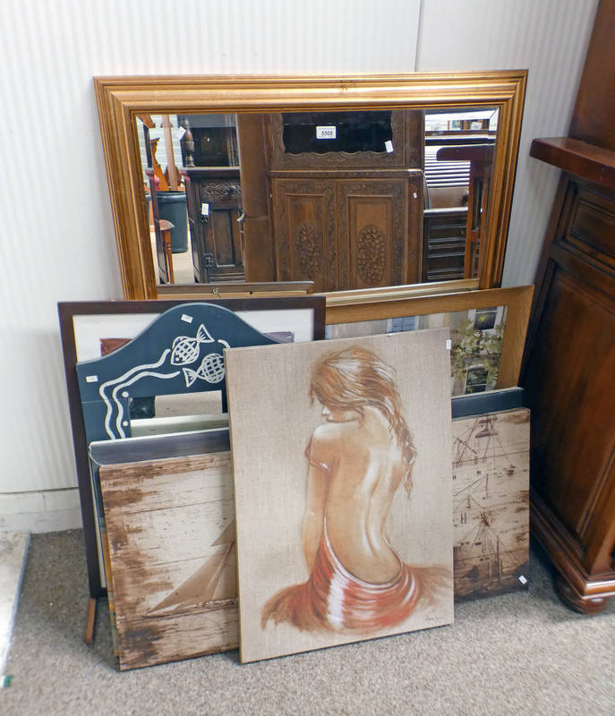 GILT FRAMED MIRROR & VARIOUS PICTURES