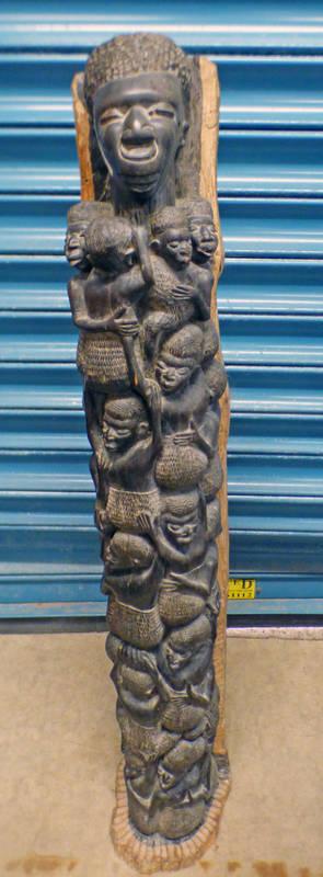 AFRICAN CARVED HARDWOOD FIGURAL STATUE