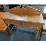 19TH CENTURY CARVED OAK SIDE TABLE WITH DRAWER & TURNED SUPPORTS - LENGTH 106 CM