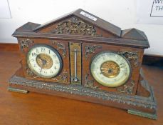 LATE 19TH CENTURY WALNUT DESK CLOCK WITH BAROMETER & THERMOMETER & ORMOLU MOUNTS MARKED MADE IN