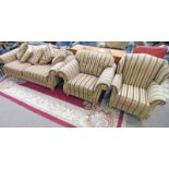 OVERSTUFFED 2 SEATER SETTEE ON TURNED SUPPORTS IN STRIPED PATTERN WIDTH 218CM AND 2 MATCHING