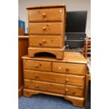 PINE BEDSIDE CHEST & CHEST OF DRAWERS