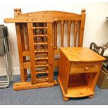 PAIR OF PINE SINGLE BED FRAMES & BEDSIDE CHEST
