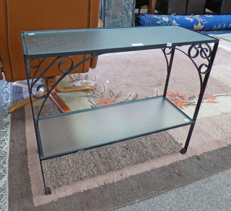 CAST METAL RECTANGULAR TABLE WITH UNDERSHELF AND GLASS INSERTS.
