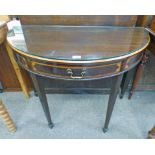 EARLY 20TH CENTURY CROSS-BANDED MAHOGANY D-END TABLE WITH SINGLE DRAWER ON TAPERED SUPPORTS,