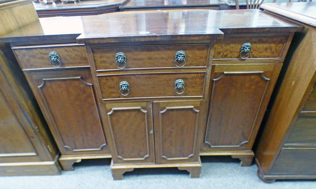 LATE 19TH CENTURY SIDE CABINET WITH SHAPED FRONT,
