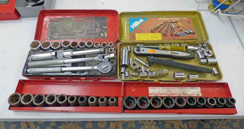 HARVARD 15 PIECE 1/2 SOCKET WRENCH SET & 1 OTHER SOCKET WRENCH,