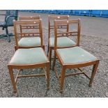 SET OF 4 MAHOGANY CHAIRS ON TAPERED SUPPORTS