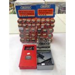 DRAPER TWIST DRILL BIT SHOP DISPLAY STANDS WITH VARIOUS DRILL BITS & 2 OTHER BOXES OF DRILL BITS