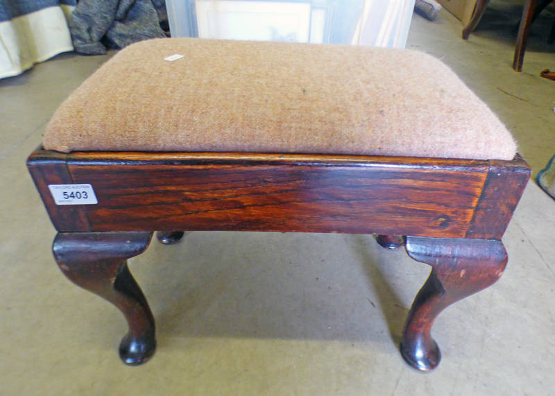 ROSEWOOD STOOL ON QUEEN ANNE SUPPORTS,